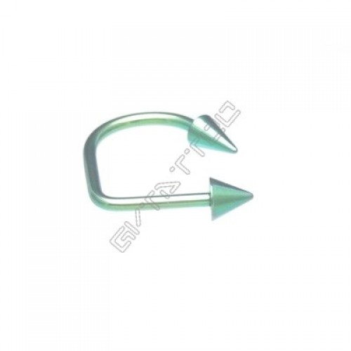 Piercing Labret Lip Loop Verde Spike - Estoque Limitado