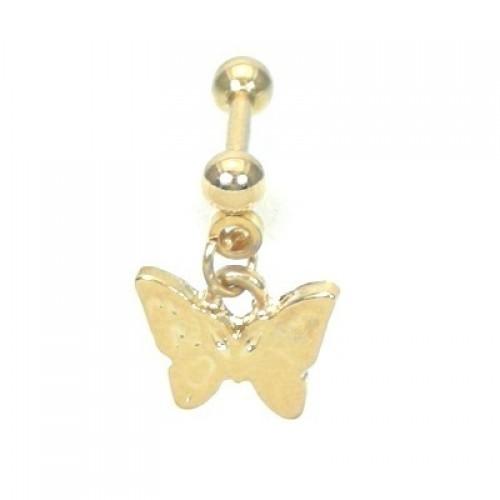 Piercing Tragus Borboleta Pendulum Folheado Ouro Amarelo 24k