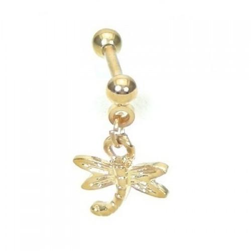 Piercing Tragus Libelula Pendulum Folheado Ouro Amarelo 24k